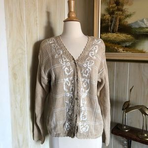 Orvis • Embroidered Neutral Knit Cardigan